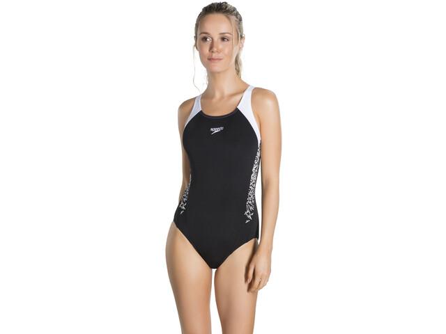 speedo Boom Splice Muscleback Swimsuit Damen black/white